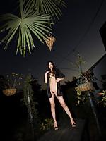Ryo Shinohara Asian with nude and oiled body takes a night walk