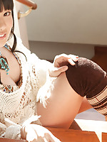 Tomoe Yamanaka Asian in long socks and thong shows sexy back
