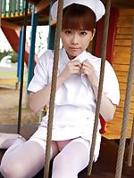 Satomi Shigemori Asian nurse takes uniform off and shows boobies